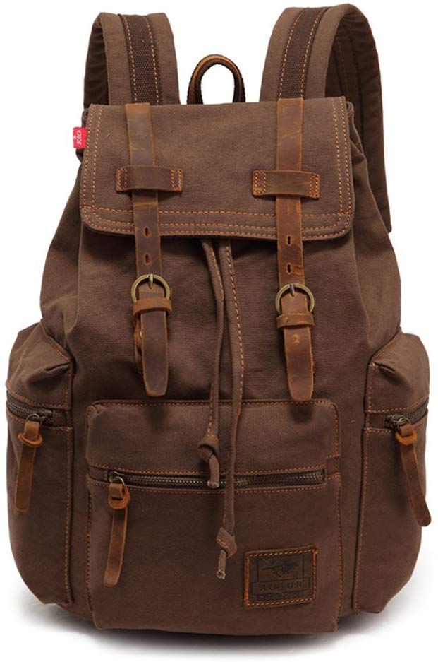 2. High Capacity Canvas Vintage Backpack by AUGUR