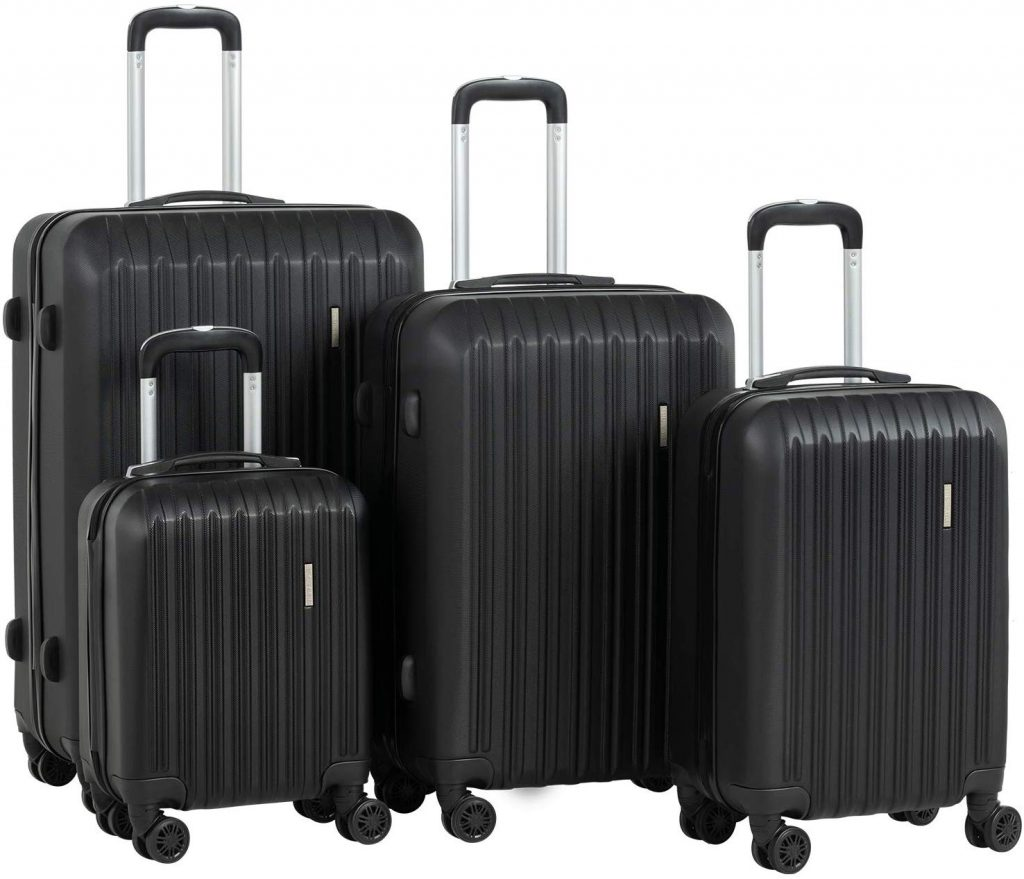 4. Murtisol ABS 4 Pieces Luggage Sets, Black