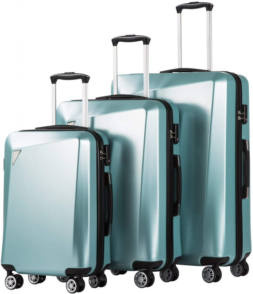 8. Coolife 3 Piece Luggage Sets PC+ABS Spinner