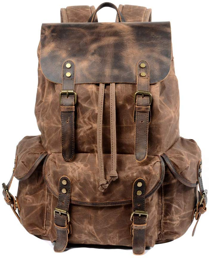 4. Travel Vintage Backpack for Men & Women by WUDON