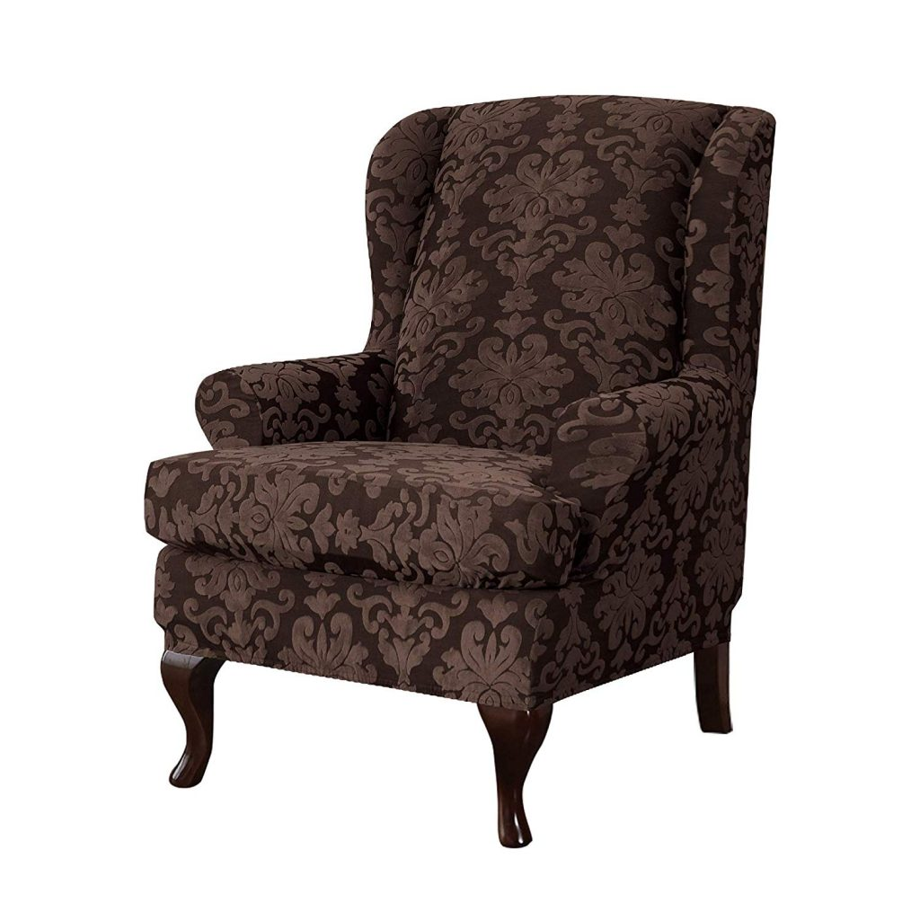10. CHUN YI Jacquard Wing Chair Slipcovers