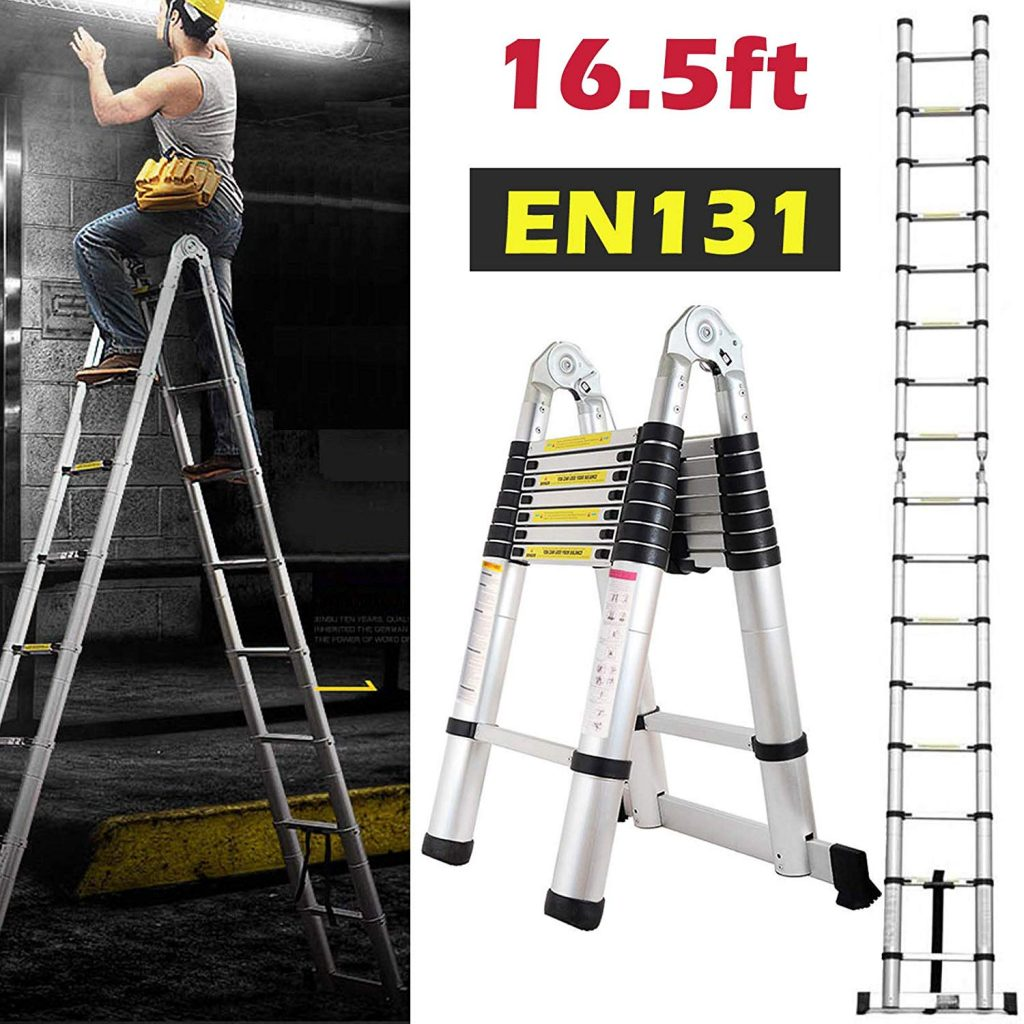 7. Aluminum Telescoping Extension Ladder by Bowoshen