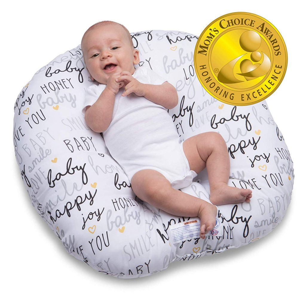 2. Boppy Black and Gold Newborn Lounger