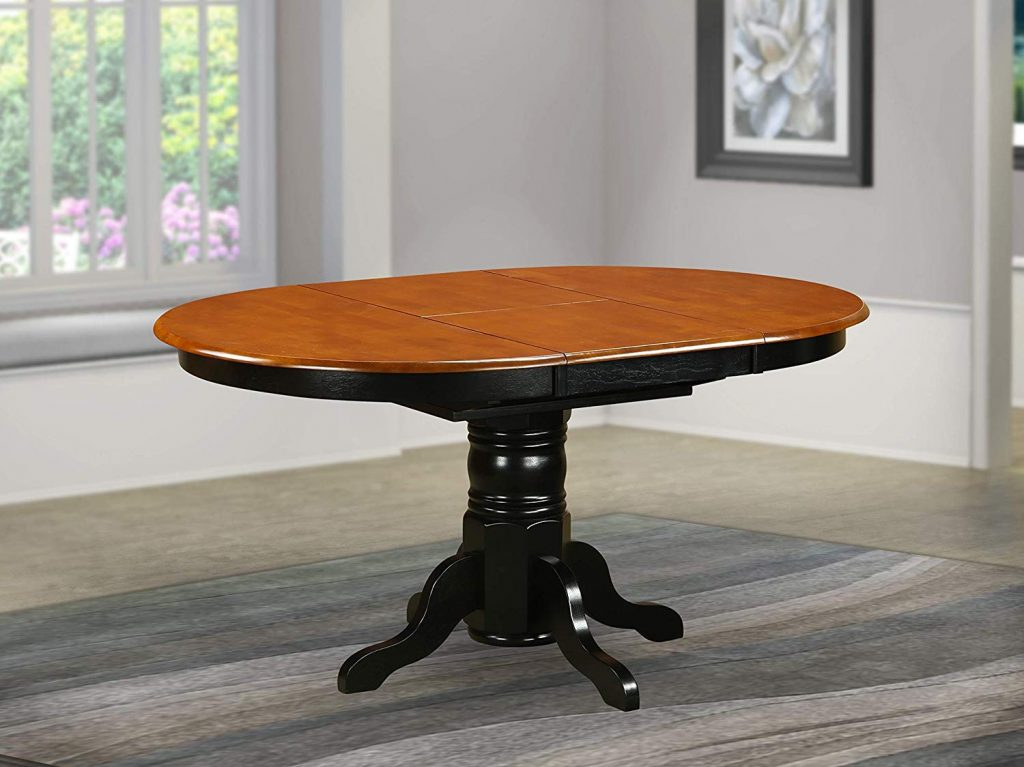 4. Linen White Oval Table by East West Furniture