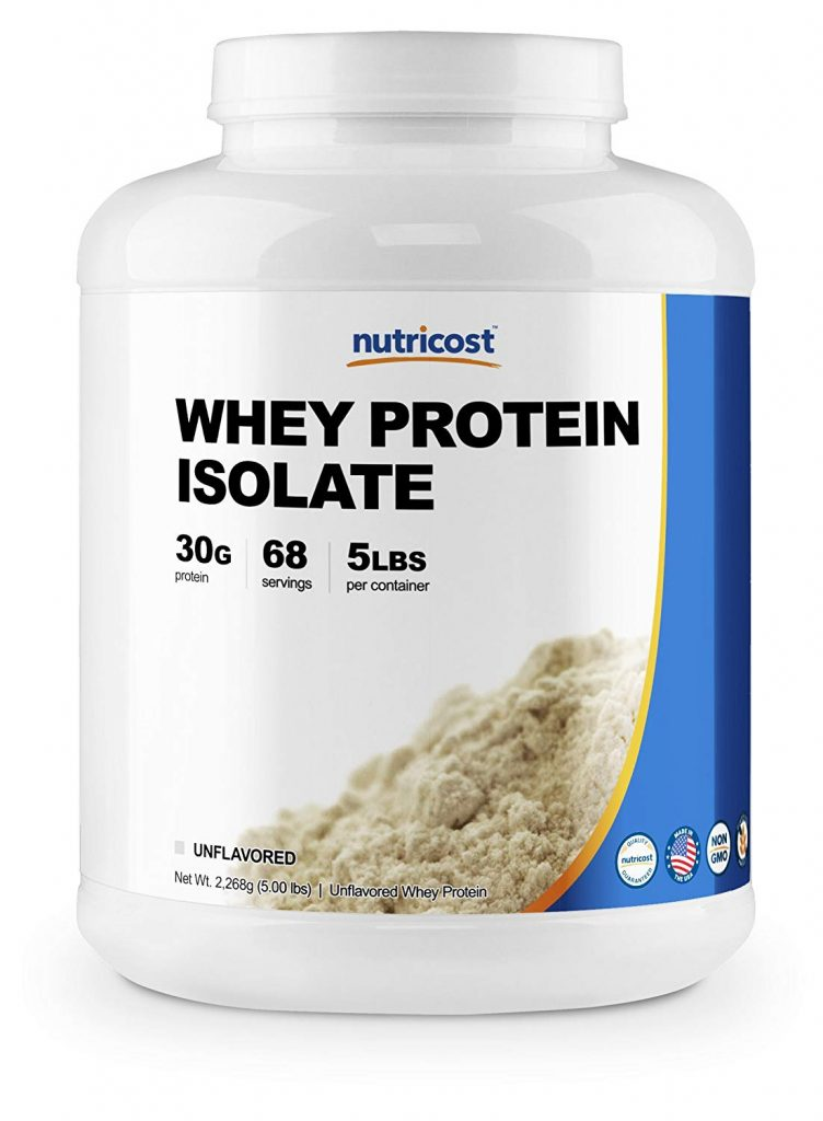 5. Nutricost Whey Protein Isolate (Unflavored):