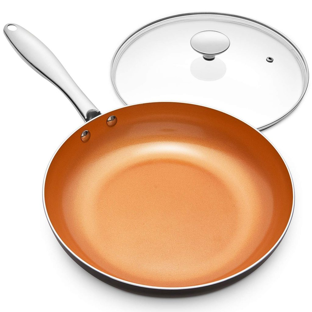 3. Michelangelo 10 inch Copper Frying Pan with Lid