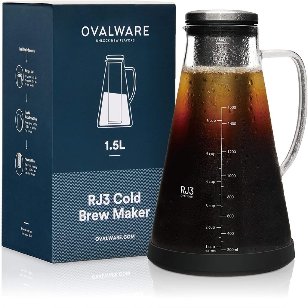 6. Airtight Cold Brew Iced Coffee Maker & Iced Tea Maker by ovalware