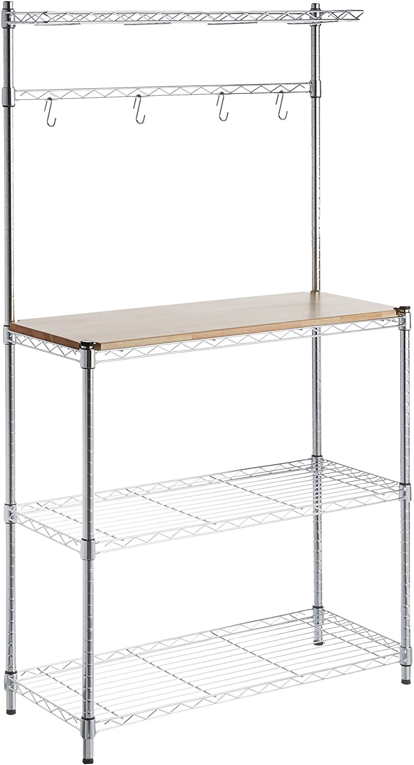 4. AmazonBasics Kitchen Storage Baker's Rack
