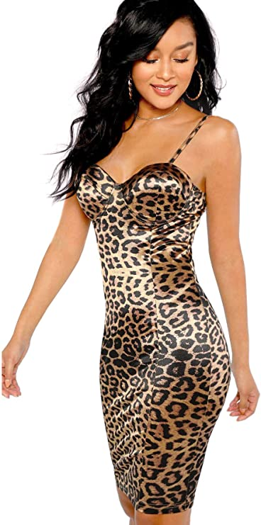 4. SheIn Women's Sexy Leopard Print Strappy Dress