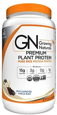 9. Growing Naturals Organic Pure Rice Protein Powder
