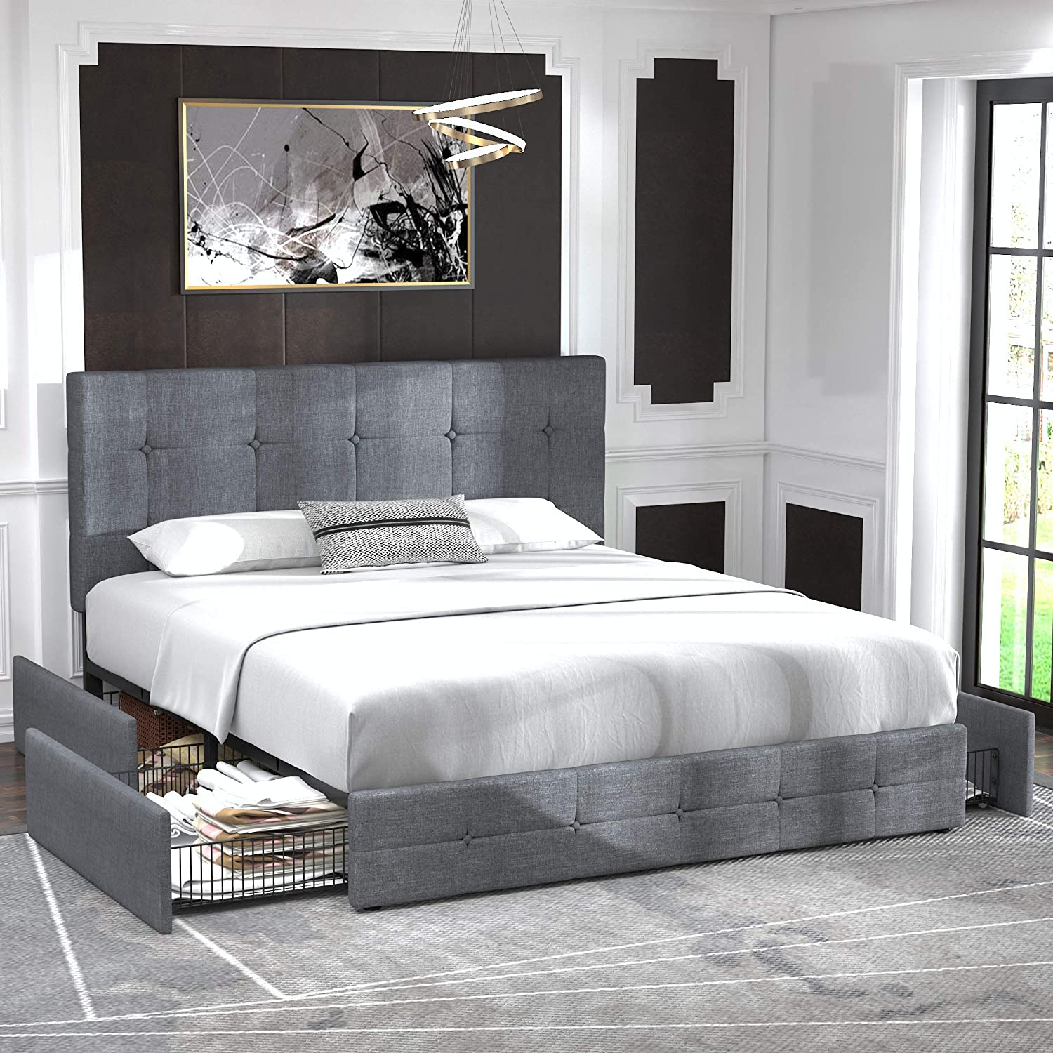 3. Allewie Queen Platform Bed Frame with 4 Drawers: