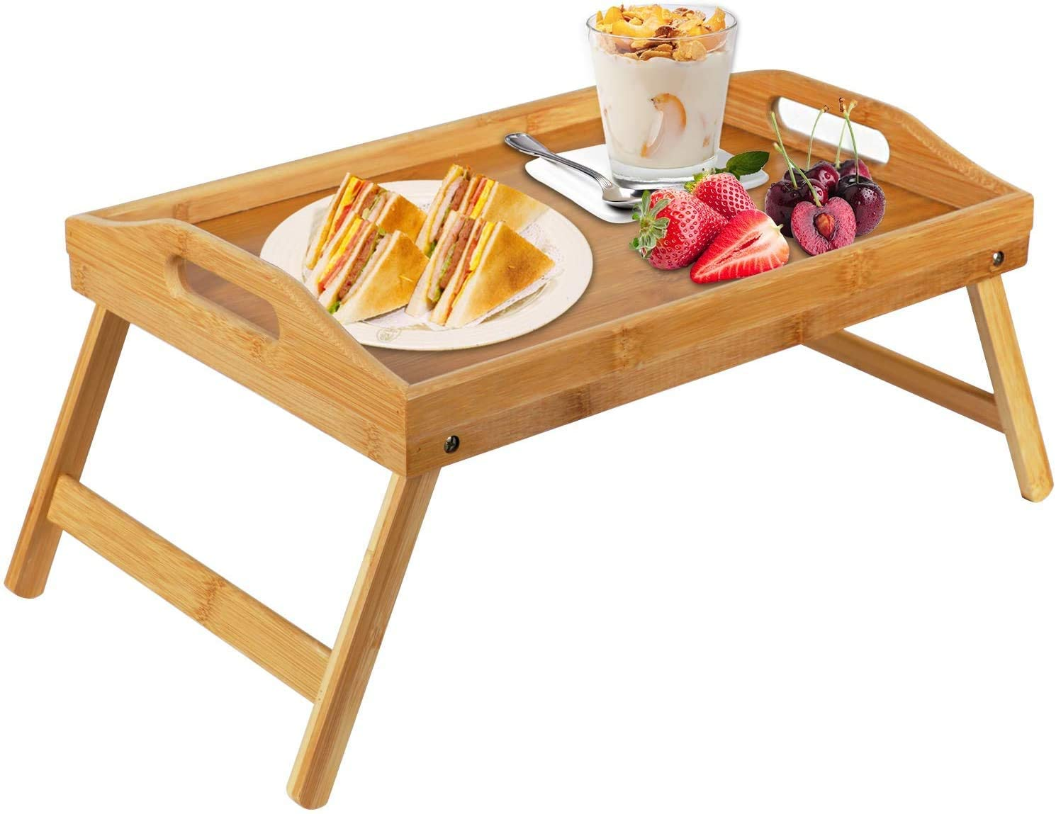 <strong>10. Bamboo Bed Tray Table</strong>